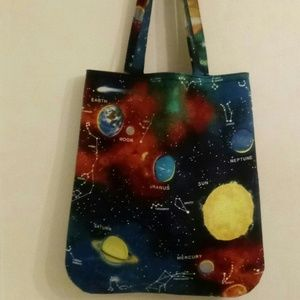 Large Blue Galaxy Stars and Planets Handmade Tote